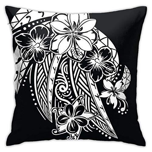 Fundas para cojines Flores blancas negras vintage Hilos tribales polinesios de Maui Funda de cojín con impresión clásica de algodón suave y poliéster