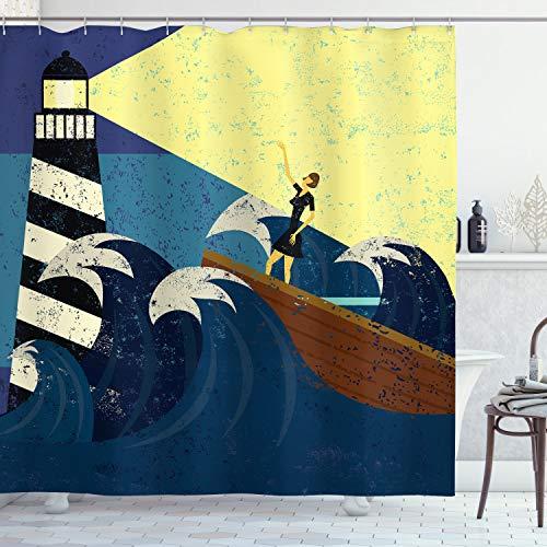 ABAKUHAUS Vintage Boat Duschvorhang, Grunge Seesturm, mit 12 Ringe Set Wasserdicht Stielvoll Modern Farbfest & Schimmel Resistent, 175x200 cm, Dunkelblau Gelb Braun