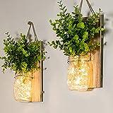 Mason Jar Sconces, Farmhouse Home Decor, Rustic Wall Sconces, LED Fairy Lights, Green Fake Plant, Interior Decoration Warm Toned Lighting.(2 Pack)