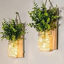 Rustic Wall Sconces, Mason Jar Sconces, Farmhouse Home Decor, LED Fairy Lights, Green Fake Plant, Interior Decoration Warm Toned Lighting. (2 Pack)