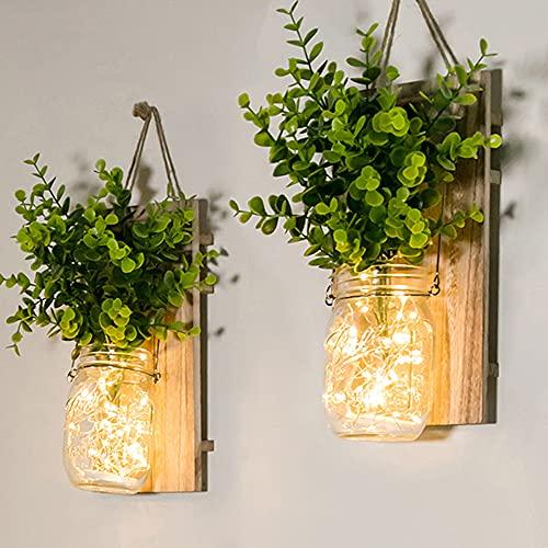 Tarro de masón lámpara de pared, Aplique de madera rústico, LED Lámpara de Decoración, diseño de luces,Planta verde falsa, tira LED para decoración del hogar (2 Paquete) (Plantas verdes)