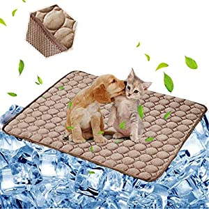 aingycy Dog Cooling Mat Pet Cooling Pads Dogs & Cats Pet Cooling Blanket for Outdoor Car Seats Beds (22IN28IN, Coffee)