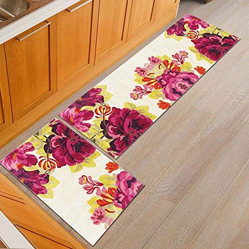 OPLJ Alfombra de Cocina de Flores de Estilo rústico Americano Alfombra de Mesa de Comedor a Prueba de Polvo Alfombra de Entrada Antideslizante Alfombra para Exteriores A11 50x80cm + 50x160cm
