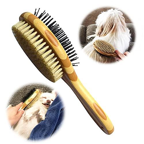 Brosse pour Chien Chat Double Face, Peigne de toilettage de chien pour massage et perte de fourrure, Poils Doux, Idéal pour les Animaux à Poil Court, Moyen et Long