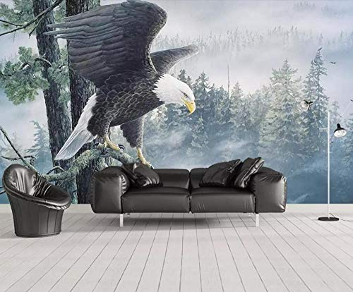 HUATULAI Muurschildering 3D Behang Grote Woonkamer Slaapbank Behang Spiegels Vleugels Stereoscopische Tv Wandbehang Achtergrond Groen Behang 400 x 280 cm.