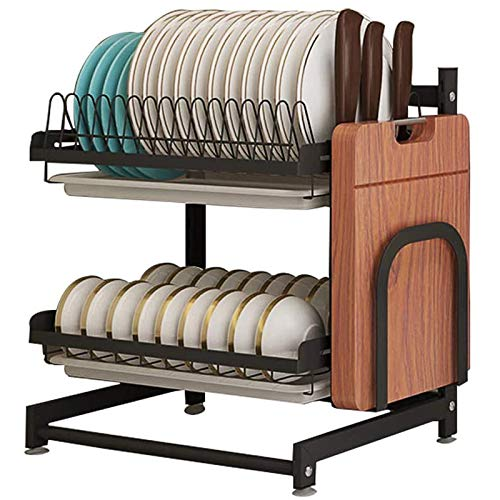 Newox Black Stainless Steel Dish Drying Organizer Rack Fruit Vegetable Storage Basket with Drainboard and Hanging 3 Hooks Utensil Caddy, Space Saver Dish Drainer for Plates Bowls Cups Spice