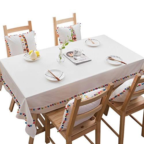 Nappe Blanche - Nappe Rectangulaire En Coton Et Lin Avec Pompons Accueil Salon Nappe De Couleur Unie Table Basse Nappe De Fête Style Simple (taille : 130cm*200cm)