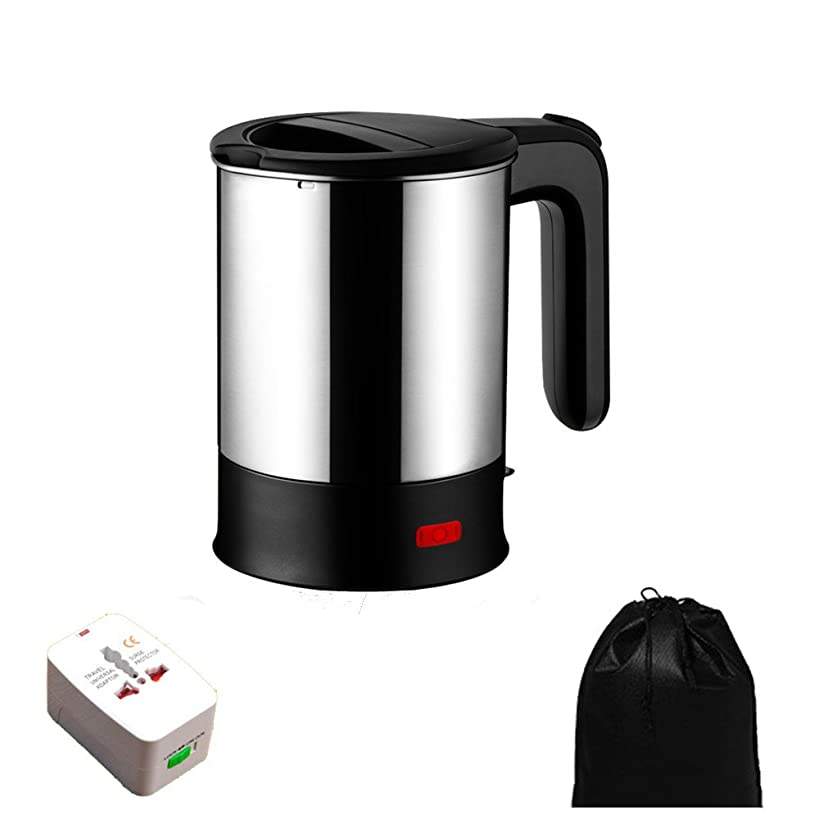 Electric Travel Kettle Dual Voltage, Electric Kettle Small, Stainless Steel Hot Pot With Free Universal Adapter - Suitable For Boiling Water & Eggs Heating Milk (Black-110-220V)