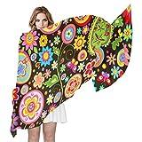 QMIN - Bufanda de seda, diseño de cachemira y flores tribales