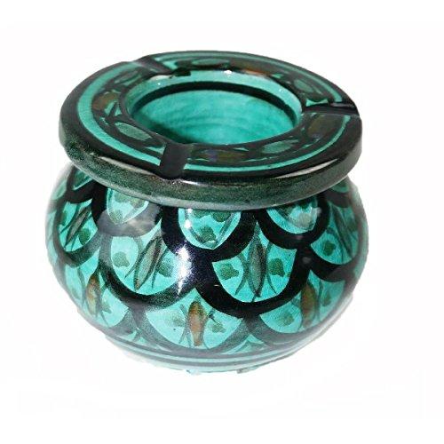 Simandra Marokkanischer Sturmaschenbecher Aschenbecher Keramik Windascher Ascher Orient Deko groß Color Grün