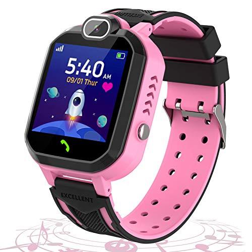 Kinder Smartwatch - Puzzlespiele Musik Player Telefon für Kinder - Kamera Alarm SOS Rechner Kalender intelligente Armbanduhr für Jungen und Mädchen Geburtstag Festival Geschenk (Rosa)