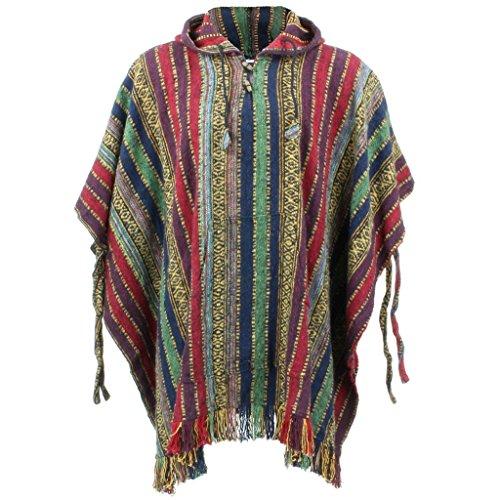 LOUDelephant Poncho mit Kapuze, 100 % gewebte Baumwolle, Mexikanischer Stil Gr. Einheitsgröße, Rot, Grün und Marineblau