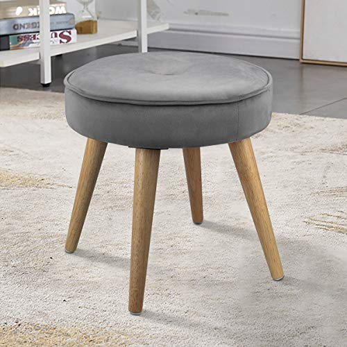LINKLIFE Thick Padded Round Footrest Ottoman Stool Velvet Side Table Seat, Makeup Dressing Stool with Wooden Legs for Living Room, Bedroom, Small Space Room, Office (Grey)