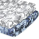The Peanutshell Fitted Pack n Play, Playard, Mini Crib Sheets for Baby Boys | 2 Pack Set | Blue & Grey Camo