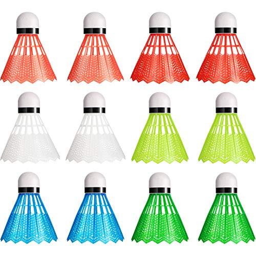 Sumind Nylon Badminton Federbälle Bunte Plastik Birdies Badmintonbälle Sporttraining Badmintonbälle für Indoor Outdoor Sport (12)