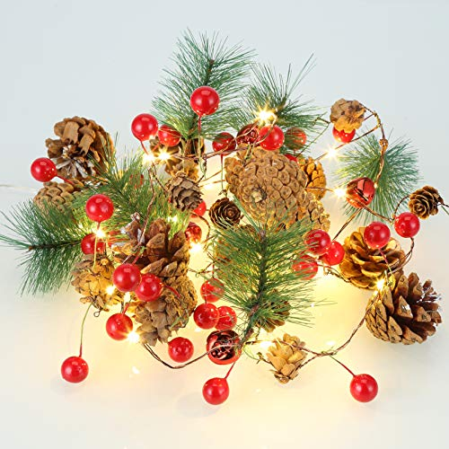 LUNSY Christmas Garland with Lights, Pinecone, Red Berry, Battery Operated, Xmas Decor for Tree, Party, Stair