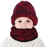 ROSEBEAR Sombrero para Niños Bufanda Circular Sombrero de Invierno para Niños/Calentador de Cuello (Rojo)