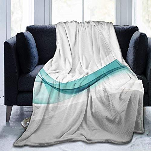 Kuscheldecke Flanell Flauschig Überwurf Mikrofaser Tagesdecke Blaugrüne Welle abstrakt Fleecedecke ,Weich Sofadecke Für Bett Sofa Schlafzimmer Büro 150x125cm