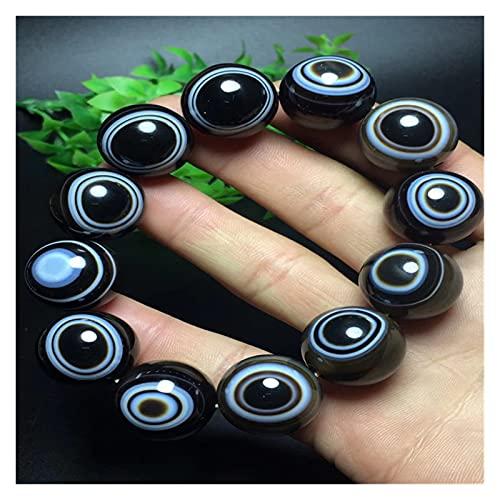 COKILU Natural Black Agate Bracelet Jade Bracelets Bangles Sky Eye First-line Pharmacist 18mm Round Beads Jade Jewelry Ward Off Evil Spirits Money Drawing Wealth Fortune