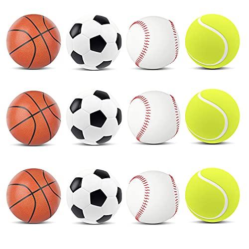MANSHU 12PCS Mini Sports Stress Balls Fun Foam Ball 2.5inch Relaxable...