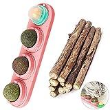 Bola de hierba gatera natural, juguete giratorio para gato, juguete 4 en 1, autoadhesivo, comestible, para gato, con 10 palitos para masticar para gato, natural e interesante
