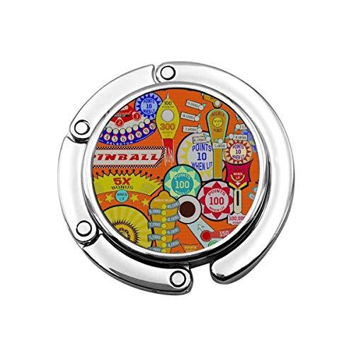 Pinball de Dibujos Animados, Gancho para Monedero Naranja, Gancho Plegable para Bolso, Ganchos para Escritorio para Monedero, PC