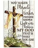 TammieLove Cartel de metal para decoración de pared, diseño de cristiano Jesús Cross Way Maker Milagro Worker Promise Keeper