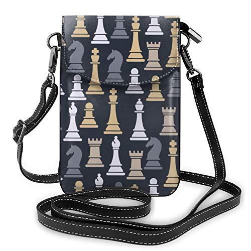 Risating Pouch Umhängetasche Geldbörse - Schachfiguren Kleine Handtasche Münzbörse mit Verstellbarem Gurt PU Leder für Frauen Mädchen