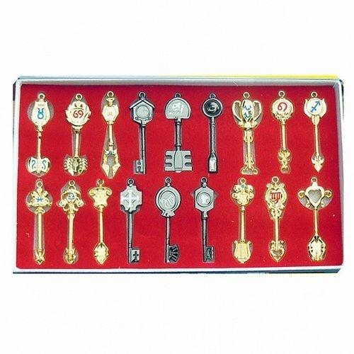 Yao Design Fairy Tail Lot de 18 pendants en forme de clé Livré avec anneau de porte-clé
