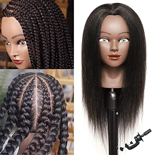 Mannequin Head with Human Hair for Braiding 100% Real Hair Mannequin...