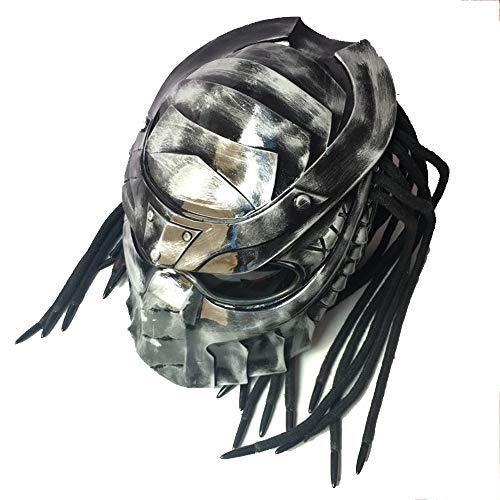 SLSMD Vintage Motorrad voller Gesicht Helm, Jagged Warrior Predator Motocross Helm, Reiten Erwachsene Unisex, Langlauf LED Licht Persönlichkeit Helm,L
