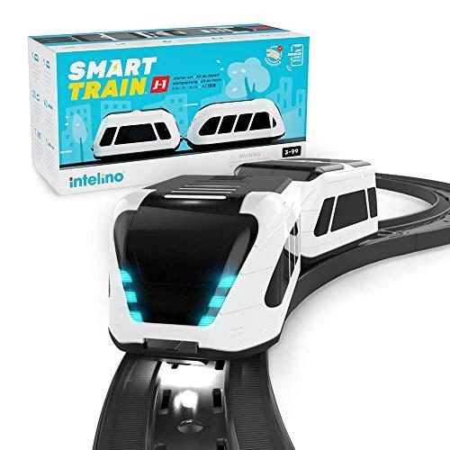 intelino J-1 Smart Train Startpackung - funktioniert bildschirmfrei oder App-verbunden - Roboter Spielzeugeisenbahn die spielerisch programmieren lehrt - mit Holzgleisen kompatibel - ab 3 Jahren