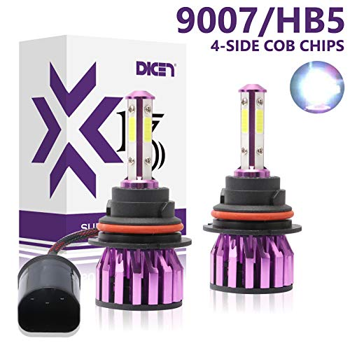 9007 HB5 LED Headlight Bulbs High Low Beam 6000K Cool White Bright 12000lm 4 Side COB Chips Car Headlamp Replacement Kit (Pack of 2)