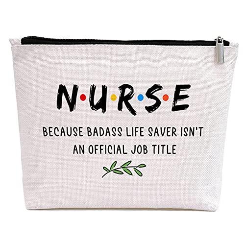 Nurses Week Appreciation Gift, RN Nursing Graduation Retirement Christmas Gift for Daughter Granddaughter Niece Bestie Friend Sister Nursing Teacher Coworker, Badass Life saver, Makeup Bag