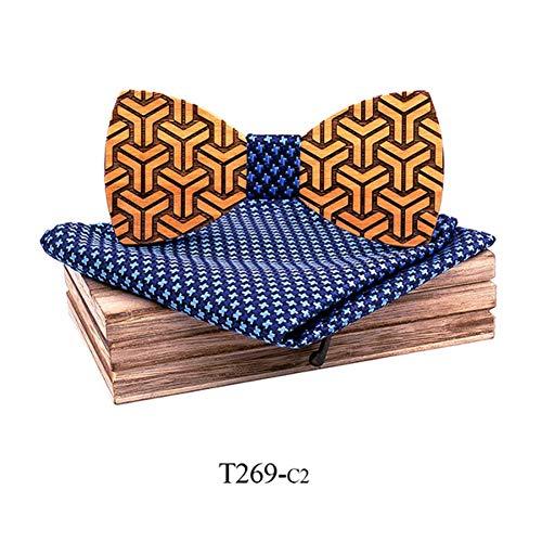 DYDONGWL Nekbanden, Houten strik strik strik voor mannen hout stropdas zakdoek manchetknopen revers bloem broche Met doos stropdas Set Geometrische