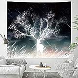 Tapiz de pared, diseño de ciervo con efecto meteor, en la niebla del amanecer, arte abstracto, para colgar en la pared, psicodélico, decoración de pared para dormitorio, salón o dormitorio, tamaño L