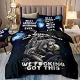 3 Pieces Skull Duvet Cover Set King 3D It's You and Me Pattern Printed Bedding Duvet Cover with Pillowcases Soft Microfiber Gothic Bedding Comforter Cover for Adults 90'x 103'