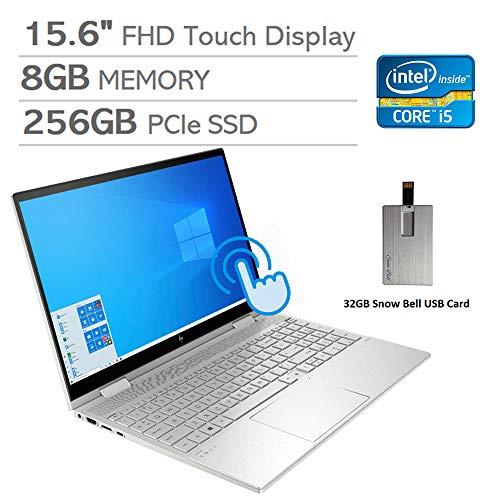 "2020 HP Envy x360 2-in-1 15.6"" FHD Touchscreen Laptop Computer, Intel i5-1035G1, 8GB RAM, 256GB PCIe SSD, Backlit KB, Intel UHD Graphics, Alexa Built-in, Win 10, Silver, 32GB Snow Bell USB Card"