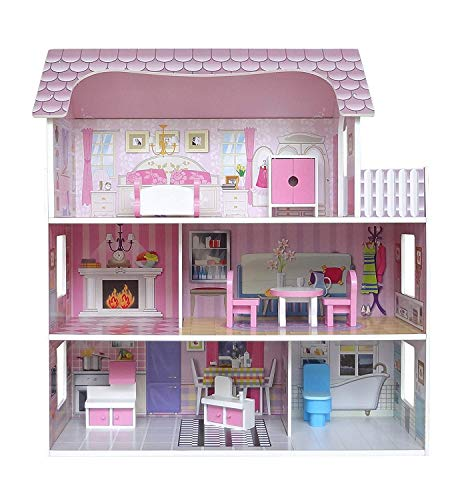Kiddi Style Wooden Large Three Levels Victorian Wooden Doll House with Furniture
