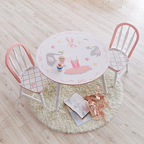 Fantasy Fields Swan Lake Ballerina Table | Hand-Painted Kids Wooden Furniture Kindertisch, weiß/rosa