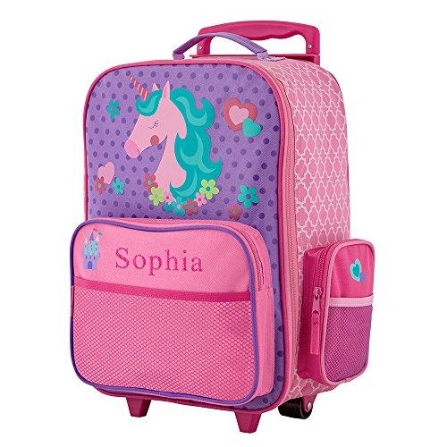 GiftsForYouNow 2-Wheel Personalized Unicorn Rolling Luggage Bag, 14.5' x 18'