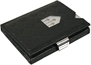 Trifold Leather Wallet w/RFID in Chess & Stainless Steel Locking Clip
