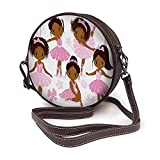 AKERCY-CASE African American Ballerinas Shoulder Bags Bows And Ballet Shoes Round Crossbody Bags For Women Microfiber Leather Purse Handbag Pink