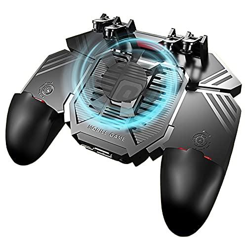 Gatillos para Movil Mando PUBG Mobile Controller 6 dedos con Ventilador, Universal Gamepad Joystick de Disparo y apuntar L1R1 Grip para Smartphone Ancho de 67 a 90 mm