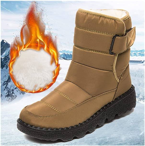 2021 Winter New Womens Boots Warm Snow Boots Waterproof Boots Plus Size Women's Athletic Comfortable Cotton Shoes