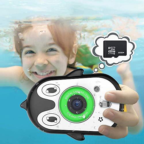 Cámara Impermeable para niños de 2,4 Pulgadas, Pantalla IPS HD, grabadora de vídeo, cámara submarina para niños de 3 a 9 años, cámara de Juguete, Regalo con micrófono y función MP3 (Black)