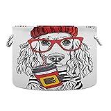 Cesto cesto de lavandería adorable perro cocker spaniel cesto de ropa de punto rojo con asas para guardería familiar jardín de infantes 13,9 x 20 pulgadas