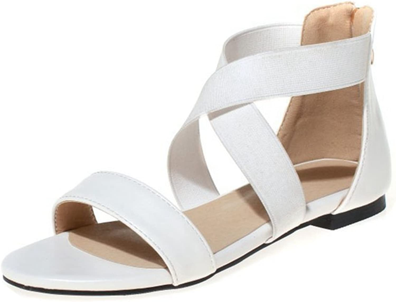 GIY Women's Summer Flat Sandals Open Toe Zipper Back Ankle Straps Casual Gladiator Sandal