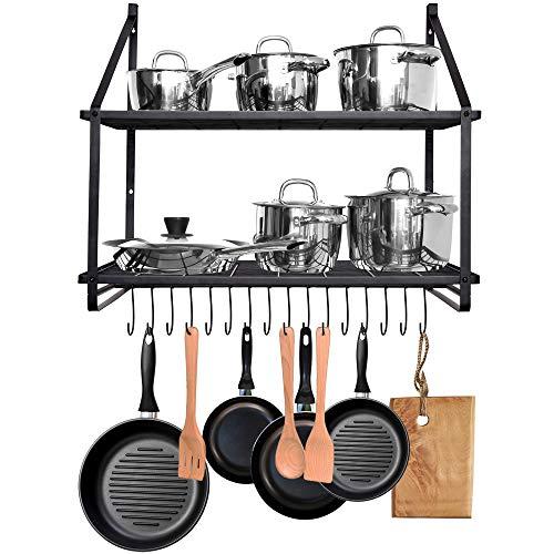 JS HANGER Pot Rack Wall Mounted 2 Tier Pot and Pan Hanging Rack Organizer Wall Shelves with 16 Hooks for Kitchen Cookware Utensils Organization Black