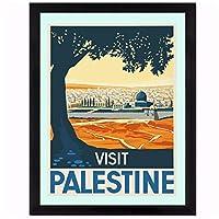 kldfig パレスチナのキャンバスの壁の芸術をご覧くださいキャンバスの絵画ポスターは、リビングルームの装飾のための写真を印刷します家の絵画の装飾-40x50cmフレームなし